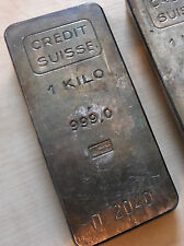 Alter CREDIT SUISSE Silber-Barren 1kg 1000g Feinsilber Patina 60er Jahre Antik