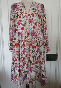 TENDENCY FLARED SLEEVE DRESS BUTTON THROUGH BRIGHT TATTOO PRINT SIZE XL NWTS