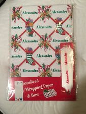 """Personalized Christmas Holiday Wrapping Paper and Bow """"Alexandra�"""