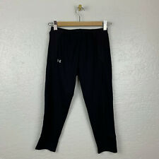 Under Armour Womens Sz M All Seasons Gear Black Capri Crop Pants Pocket