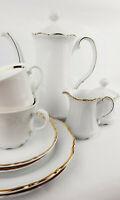 MITTERTEICH TOP Vintage Kaffeeservice 12 PERSONEN Porzellan weiß Relief Goldrand