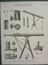 1818 DATED ANTIQUE PRINT ~ ASTRONOMICAL INSTRUMENTS ACHROMATIC TELESCOPES