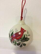 RED CARDINAL HOLIDAY CHRISTMAS PORCELAIN BALL ORNAMENT