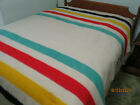 FULL+SIZE+RED+GREEN+YELLOW+BLACK+STRIPED+HUDSON+4+POINT+WOOL+BLANKET%21+74%22x94%22+