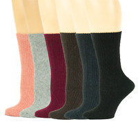 6 Pairs Womens Cable Knit Winter Wool Thermal Boot Crew Socks *You Choose Style