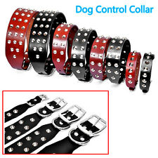Rivets Studded Genuine Leather Cowhide Dog Control Collar fr Rottweiler Labrador