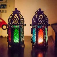 KQ_ BL_ Moroccan Lantern Tea Light Lamp Candle Holder Hanging Home Garden Weddin
