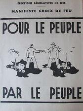 LES CROIX DE FEU MANIFESTE ELECTIONS LEGISLATIVES 1936 DE LA ROCQUE + TRACT