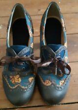 Ruby Shoo Brown / Mustard /Teal Flowered Ribbon  Lace Up Heels Size Eur 39/ 6
