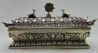 Collectible Decorated Old Handwork Tibet Silver Big Bird Tower Incense Burner