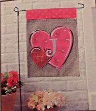 "Valentines Day Monogrammed ""J"" Hearts decorative Garden Flag w/metal Pole Nip"