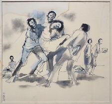 Dessin encre et gouache de G. DUVERGER illustration vers 1965 Afrique