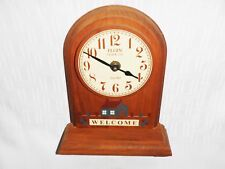 Vintage 60's Elgin Clock Co. Wood Welcome Wall Clock Battery USA - Awesome!