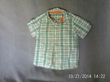 Boys 5-6 Years - Blue/White/Orange Check Short Sleeve Shirt - Mothercare