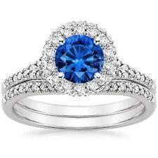 2.00ct Round Blue Sapphire Diamond Engagement Ring Wedding Band 14k White Gold