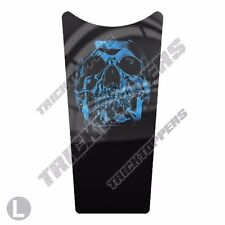 Gas Tank Dash Console Insert Decal for 87-07 Harley Touring BLUE CHROME SKULL T1