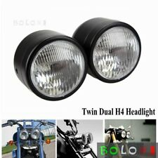 """Motorcycle 4""""Twin Round Headlight Double Dominator Lamp Universal For Cafe Racer"""
