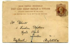 British Levant 1889 GB ONE PENNY brown UPU Post Card Constantinople to London
