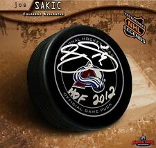 Joe Sakic Signed Colorado Avalanche Official Game Puck with HOF 2012 Inscription