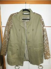 GORGEOUS VERA & LUCY PARKA/COAT/JACKET ARMY GREEN/GOLD SEQUINS M BNWOT