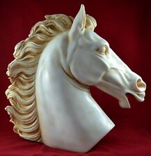 Large Horse Head Statue Sculpture 15 inch Wealth Prosperity Marble Aged Patina