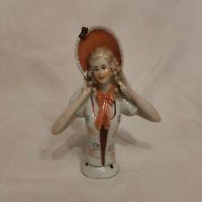 More details for vintage porcelain half doll for pin cushion a1