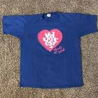Vintage Jerzees Single Stitch Hearts at Work T-Shirt Men's Size XL