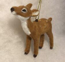 Deer Woodland Christmas Tree Ornament Faux Fur