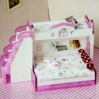1/12 Dollhouse Bunk Bed Miniature Acrylic Furniture For Children Kid Bedroom DIY