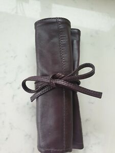 Real Leather POUT Professional Make-Up Brush Roll Up Bag  Burgundy Leather