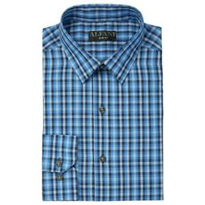 Alfani Mens Dress Shirt Blue Small S 14-14 1/2 Gingham Plaid Slim Fit $50- 045