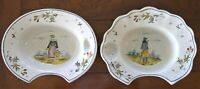 2 Quimper Antique French Faience Barber Bowls, Shaving Bowls: Circa 1850