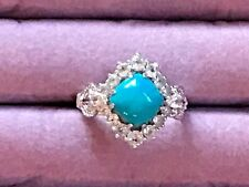 Michelle Albala Turquoise and White Sapphire Plat clad sterling 925 ring sz 10
