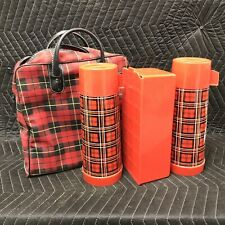 Vintage Aladdin 2 Thermos Lunch Box Picnic Set With Plaid Canvas Carry Bag