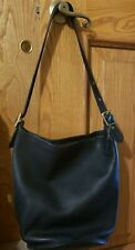 COACH Vintage Duffle Feed Bucket Bag-XL BLACK Leather J7D-9085-USA