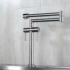 Brass Bathroom Kitchen Sink Faucet Swivel Spout Mixer Tap Chrome Double Handles