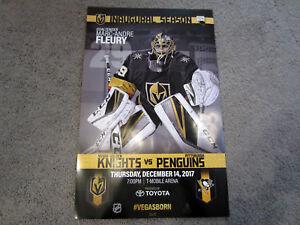 Penguins vs Vegas Golden Knights GAME POSTER 12-14-2017 Marc Andre Fleury Crosby