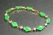 Gold Plate Green JADE Bead beads Rhombic Rectangle Bangle Bracelet 237146