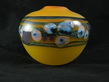 J. Byron Art Glass Vase light yellow orange tangerine with murrina band