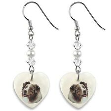 Australian Shepherd Dog 925 Sterling Silver Heart Mother Of Pearl Earrings Ep196