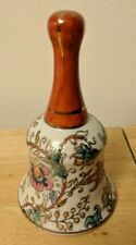 "China Decorative Bell 5"" Aqua Peach Pink Blue Floral Ff Mark"