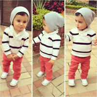 Kids Infant Baby Boys T-shirt Sweatshirt Tops+Pants Trousers 2PCS Outfit Clothes