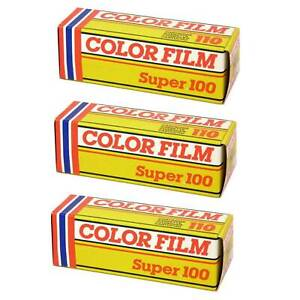 3 Pack of 110 Colour Film 24 Exp Out Of Date Roll Super 100