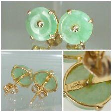 14k Yellow Gold Natural Jade Stud Earrings 14 carat Gold