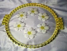 VINTAGE ITALIAN GLASS SERVING TRAY PLATTER HAND ETCHED YELLOW APPLIED GLASS EXC
