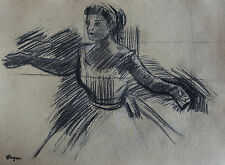 Dancer Charcoal on paper w COA, signed Edgar Degas, Rare uniqe art, Picasso era