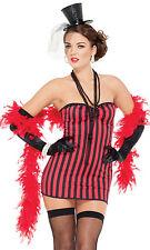 Sexy Saloon Girl Costume Vampire Fancy Mini Dress Red Boa Black Long Gloves  S M