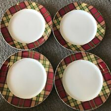 Spode Glen Lodge Tartan Red Christmas Salad Appetizer Plate Set 4  ~ New ~