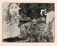 MARGARETE GEIBEL - Topfmarkt - Radierung / Vernis mou 1908