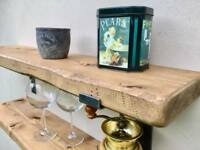 Rustic floating wooden shelf - shelves - shelf bracket - kitchen alcove bathroom